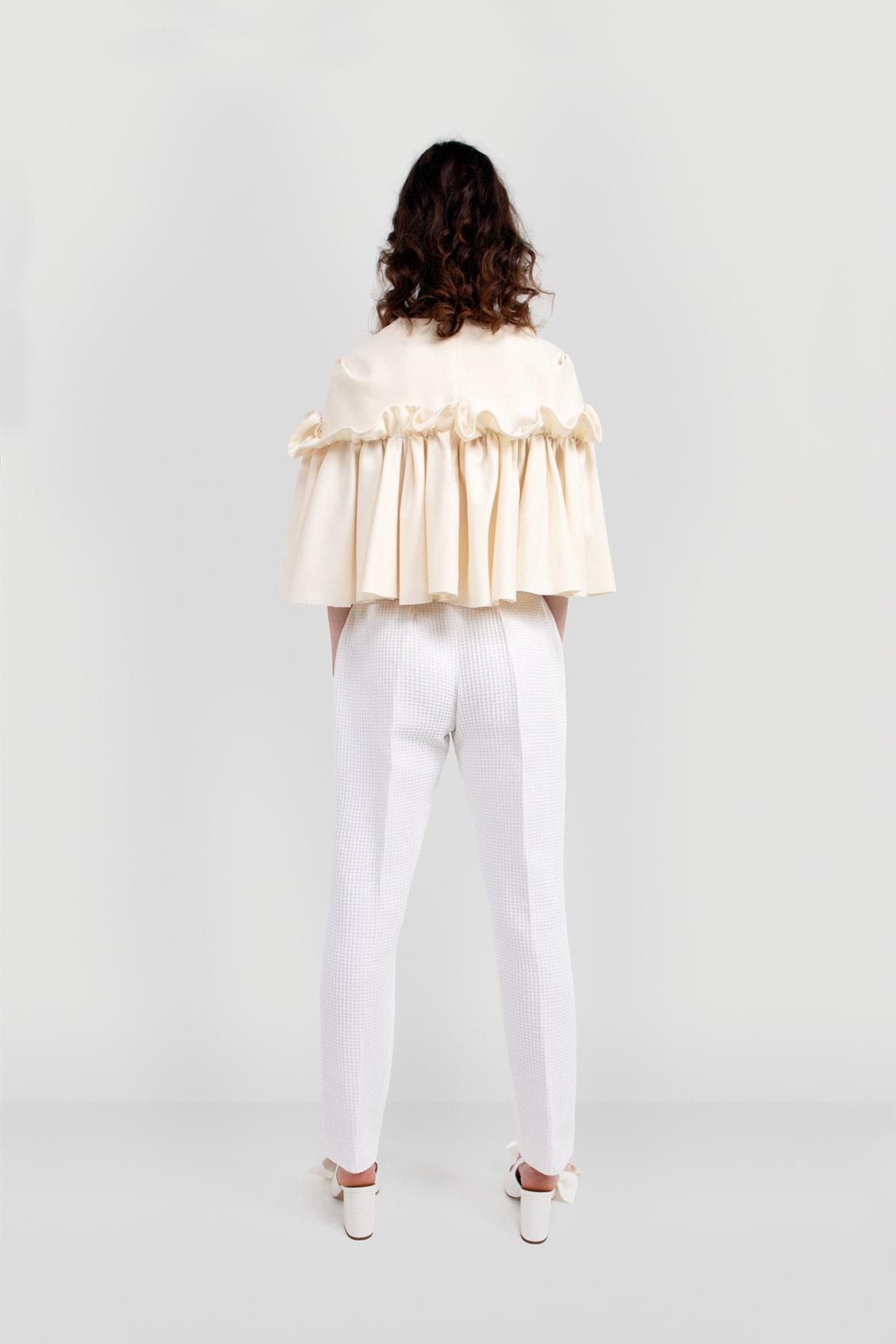 VALDONE Au - Back of the cream colour British wool designer cape HAZEL