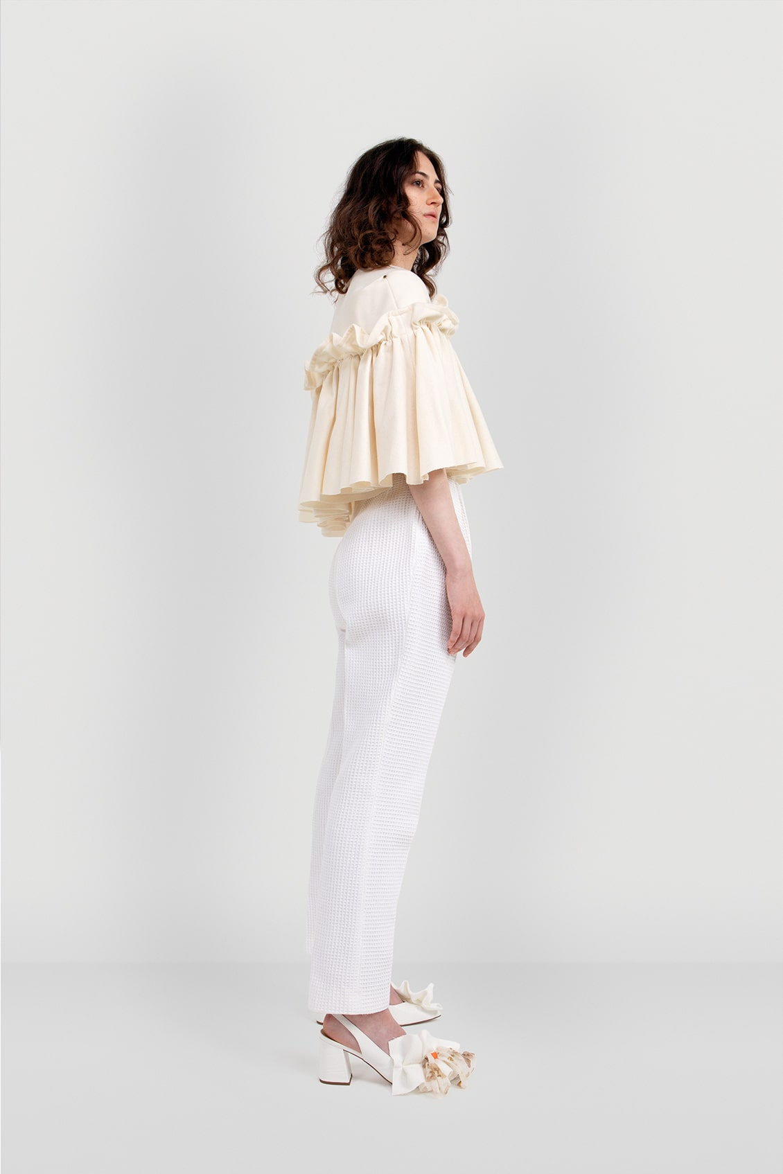 VALDONE Au - Side of the cream colour British wool designer cape HAZEL