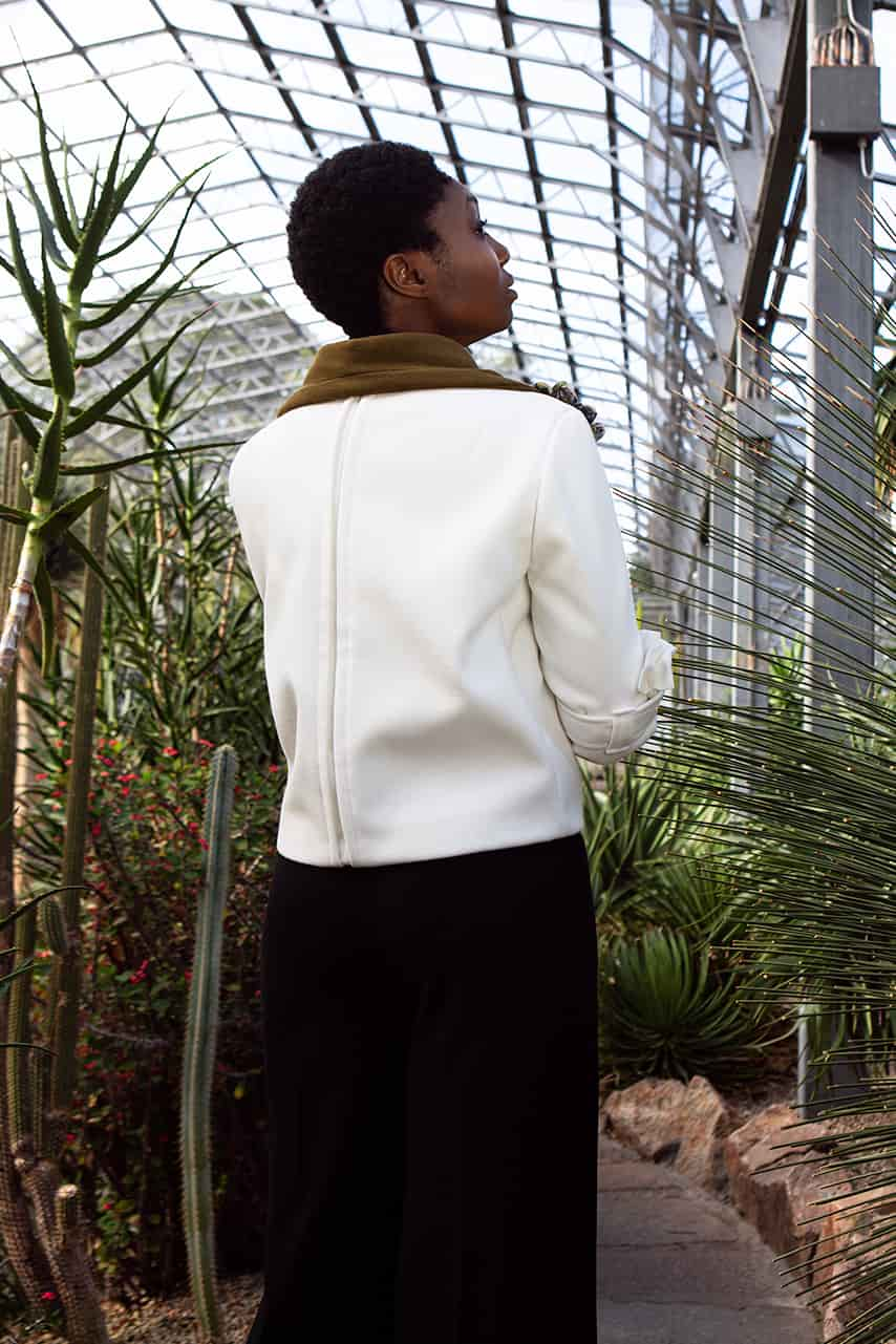 VALDONE Au - Back of the Hera couture coat. Made-to-measure coat handmade in the United Kingdom.