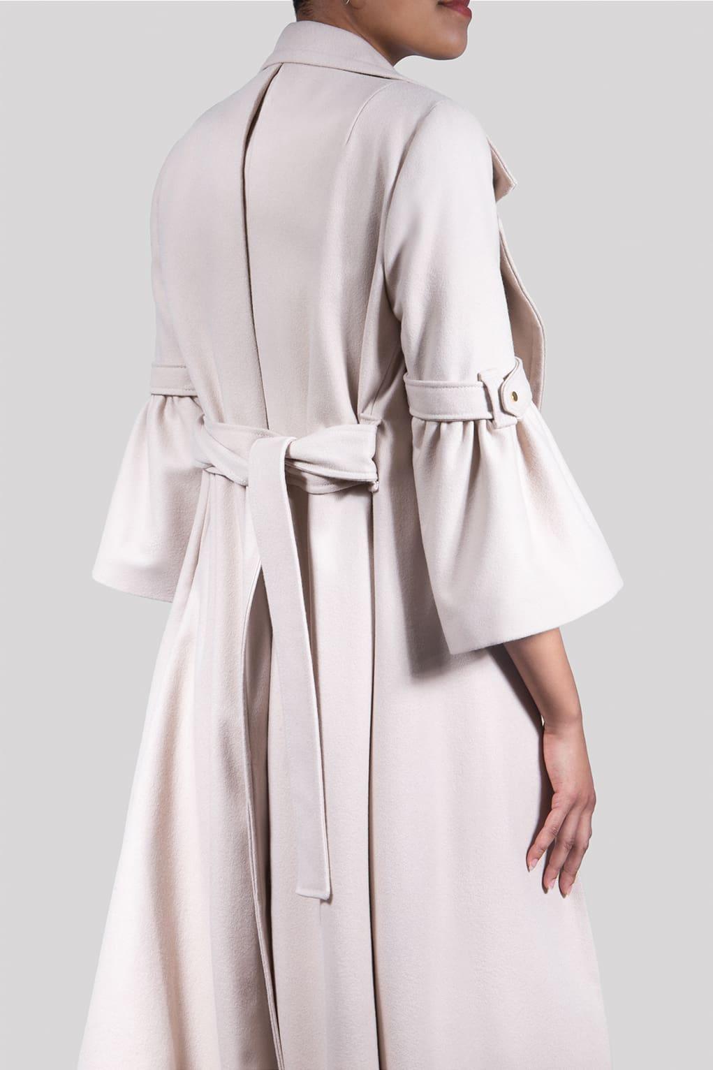 VALDONE Au - Back of the beige colour British wool maxi designer coat ELODIE
